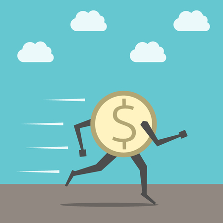 rallying: Fast golden dollar coin running on ground on sky background. Finance, currency, economic, savings, investment, panic, crisis, rallying concept. Illustration
