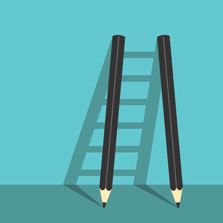 success strategy: Success ladder of two pencils and shadows on turquoise blue background. Creative career, creativity and goal concept.