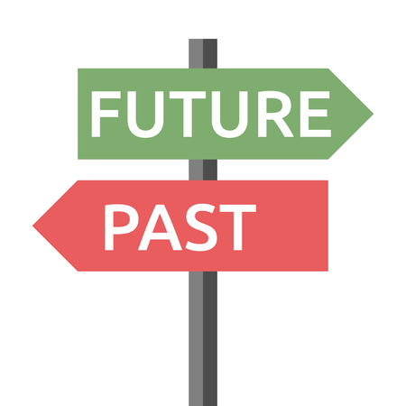 Past and future road sign isolated on white. Life, destiny, motivation, success, concentration, aging, hope, faith, development concept.