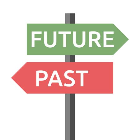 Przeszłość i przyszłość znak drogowy wyizolowanych na białym tle. Życie, przeznaczenie, motywacja, sukces, koncentracja, starzenie, nadzieja, wiara, koncepcja rozwoju.