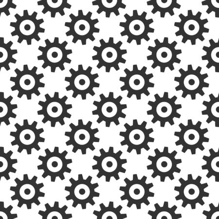repeat texture: Black gears seamless pattern isolated on white. Wheels or cogs. Repeat texture. Infinite tiles. Illustration