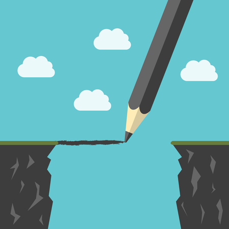Bleistiftzeichnung einer Brücke über Abgrund zwischen Klippen. Hindernisse überwinden, Geschäftserfolg, die Lücke Konzept. Vektorgrafik
