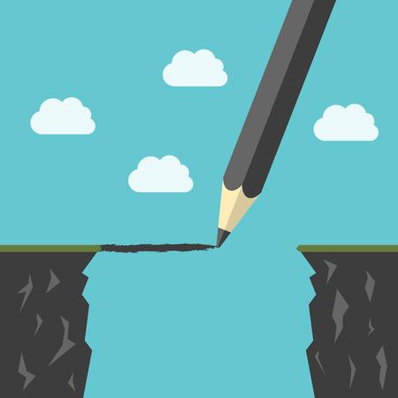 Dessin au crayon d'un pont au-dessus abîme entre les falaises. Surmonter les difficultés, le succès de l'entreprise, la réduction de la notion d'espace. Vecteurs