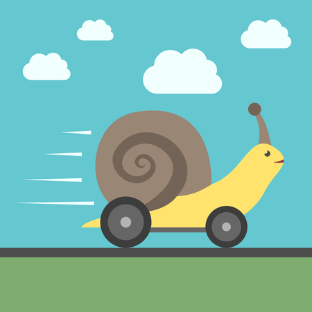 haste: Fast speedy snail with automobile wheels moving quickly. Success, haste, speed, efficiency, performance and creativity concept.