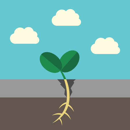 breaking new ground: Young grass sprout growing and breaking asphalt on sky background. Growth, ecology, success, nature and environment concept. Illustration
