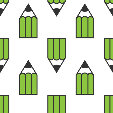 normal school: Green pencils seamless pattern isolated on white. Design, creativity, illustration, art, drawing, school, education and graphic concept.