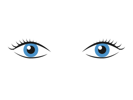 supervisi�n: Pair of blue eyes with eyelashes isolated on white. Vision, look, sight, watching, supervision and observation concept.