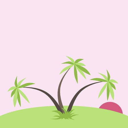 tropical sunset: Pink tropical sunset with three green palm trees and grass. Holiday, romance, exotic, travel and relaxation concept. Illustration