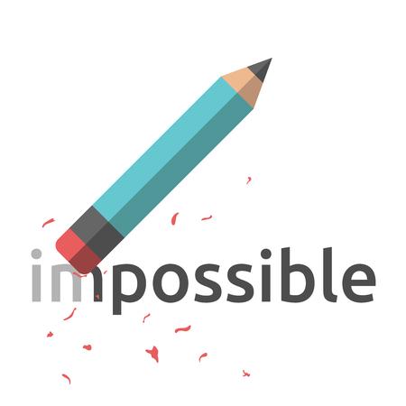 Crayon avec gomme effacer mot impossible. le style plat illustration. La réussite en affaires, la motivation, la pensée positive, le concept de confiance.