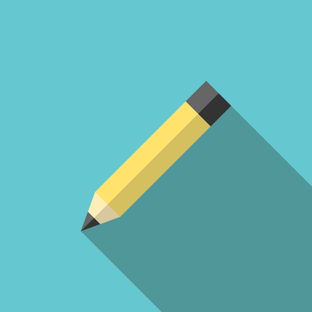 tip style design: Yellow graphite pencil on turquoise blue background with long shadow. Education, creativity and office concept.