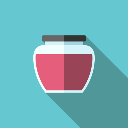 jam jar: Flat style jam jar with long shadow on turquoise blue. Sweet delicious home natural dessert. Food or drink. Illustration