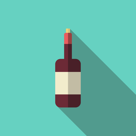 closed corks: Dark red closed wine bottle with blank label, cork and long shadow on turquoise blue background. Flat style illustration.