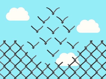 Cerca de alambre transformando en pájaros que vuelan lejos de malla de alambre. La libertad, el éxito, el pensamiento positivo, la motivación, la inspiración y el concepto de valor.