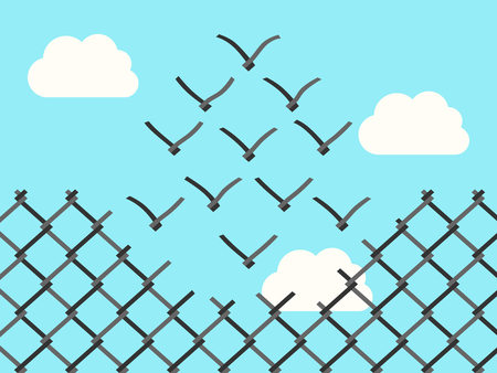 thinking link: Chain link fence transforming into wire mesh birds flying away. Freedom, success, positive thinking, motivation, inspiration and courage concept.