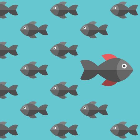 한 가지 독특한 물고기가 반대 방향으로 수영합니다. 사업가, 위험, 용기, 자신감, 성공, 군중 및 창의성 개념