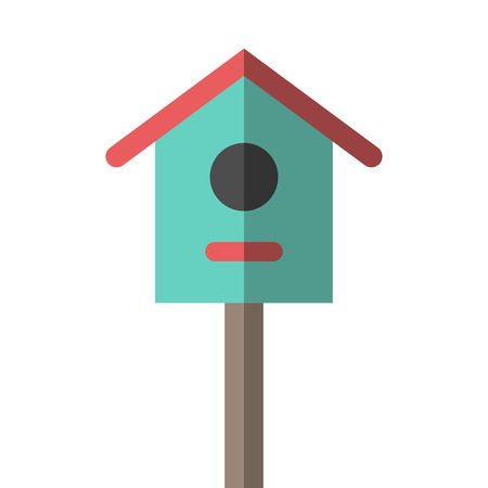nesting box: Nesting box on wooden pole isolated on white. Flat style birdhouse illustration. Spring, nature, garden, birds, house and home concept.