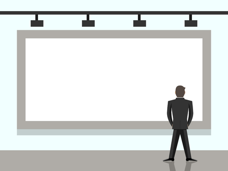 back view: Businessman standing and looking at big blank billboard. Back view. Wall with screen or banner. Presentation, marketing and advertising concept. Illustration