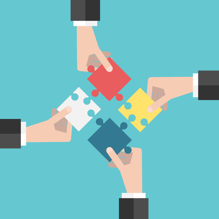 Four businessmen hands putting puzzle pieces together. Flat style illustration. Teamwork, cooperation, business and solution concept.