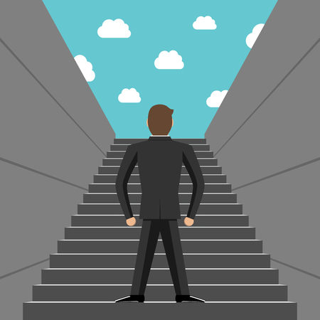ambition: Ambitious successful businessman climbing steps. Back view. Career ladder, stairs, success, ambition, goal, growth and development concept.