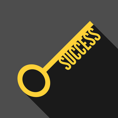 success key: Success key icon with long shadow on dark gray background. Business, motivation, strategy, achievement and solution concept.
