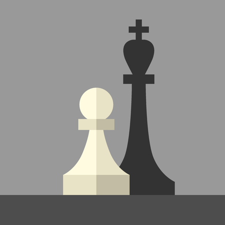 ambition: White chess pawn casting shadow of king piece on gray. Flat style. Leader, succes, power, strength, business, faith, goal and ambition concept.