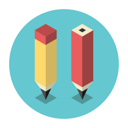tip style design: Beautiful simple stylized isometric pencils on turquoise blue background with shadows. Education, drawing, art, office and school concept. Illustration