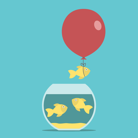 think tank: Gold fish and red balloon flying away from fishbowl on turquoise blue background. Round aquarium. Courage, creativity, success and risk concept. Illustration