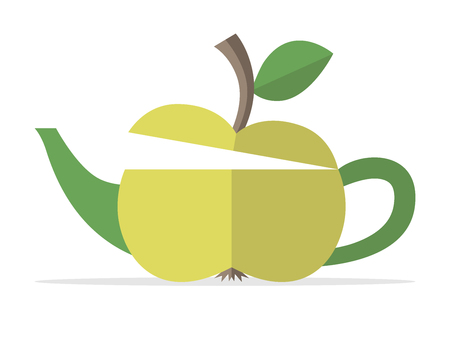 freshness: Conceptual green apple teapot. Food, fruit, beverage, drink, nature, healthy lifestyle, breakfast, freshness and fitness concept.