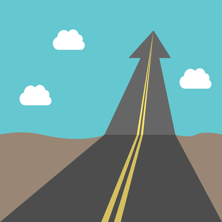 opportunity concept: Road with arrow to sky. Success, business, growth, future, goal, freedom, opportunity, aspirations and faith concept.