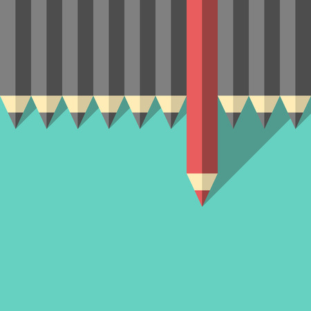 Red unique different pencil standing out from crowd of gray identical ones. Leader, leadership, individuality, ambition, uniqueness, success and courage concept. Illustration