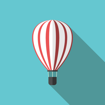 striped band: Beautiful white and red striped hot air balloon on turquoise blue background with long shadow. Travel, adventure, activity and journey concept.