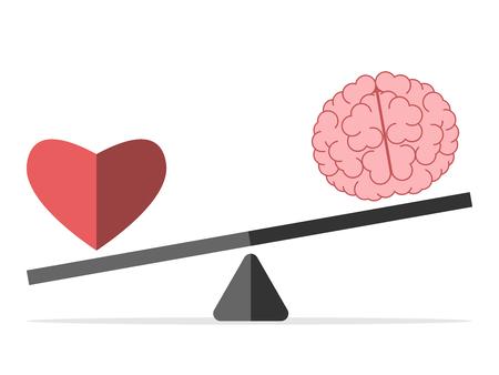 흰색에 고립 된 비늘에 심장과 뇌. 균형, 사랑, 마음, 지능, 논리, 지능, 감정과 선택 개념.