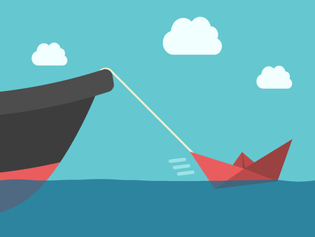 overachiever: Small red paper boat hauling big metallic ship. Power, success, energy, motivation, achievement and potential concept. Illustration