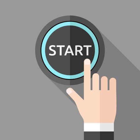 empujando: Mano presionando el botón de inicio sobre fondo gris con una larga sombra. estilo plano. Tecnología, opción, negocio, inicio y puesta en marcha concepto.