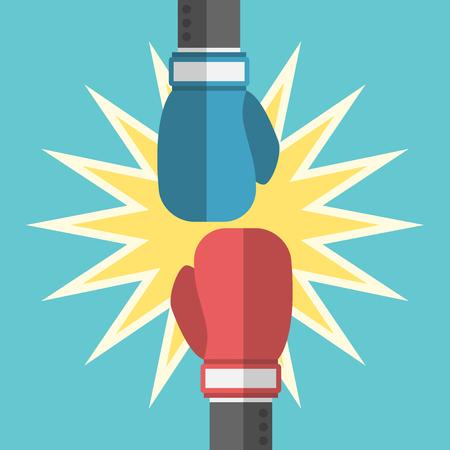 Dos hombres de negocios manos con guantes de boxeo de la lucha. Negocio, la fuerza, la potencia, la competencia, el desafío, el valor, la rivalidad y el concepto de conflicto. ilustración, sin transparencia Ilustración de vector