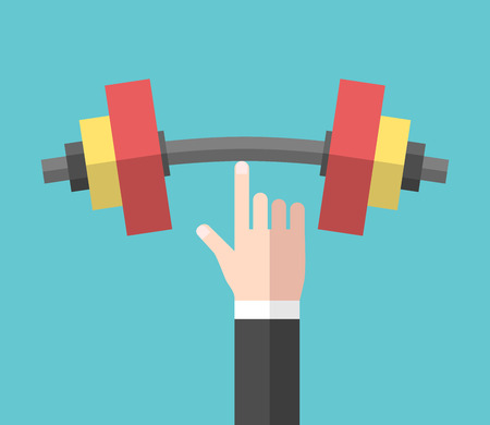 Strong hand holding big heavy dumbbell with index finger. Strength, power and success concept.