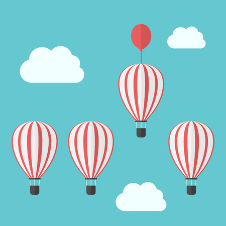 standout: Hot air balloons in sky. Leader with additional extra balloon winning race. Competitor, advantage, success, business and competition concept.