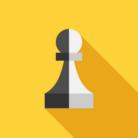 Two-faced black and white traitor pawn on yellow background. Flat style. Betrayal, spy, business, unity, partnership and teamwork concept.