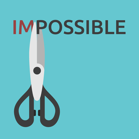 Scissors cutting word impossible. Courage, solution, achievement, challenge, opportunity, motivation and goal concept. Illustration