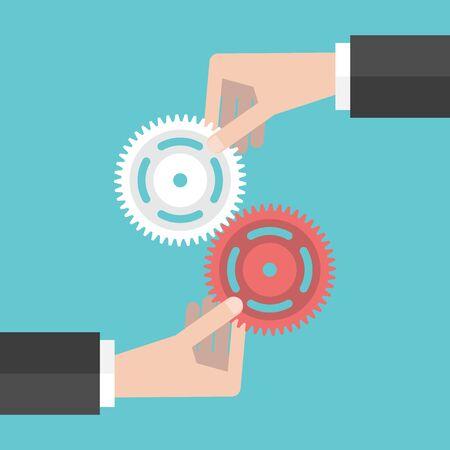Deux mains tenant les engrenages ensemble. Travail d'équipe, de partenariat, d'affaires, la coopération et le concept de gestion. Vecteurs