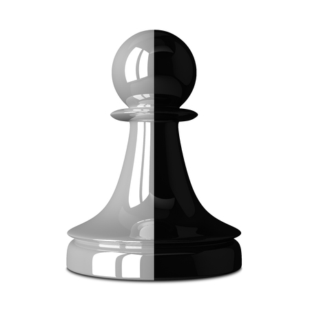 traitor: Multicolor black and white glossy shiny chess pawn isolated on white with small soft shadow. Traitor, betrayal, business, unity, partnership and teamwork concept. 3D illustration