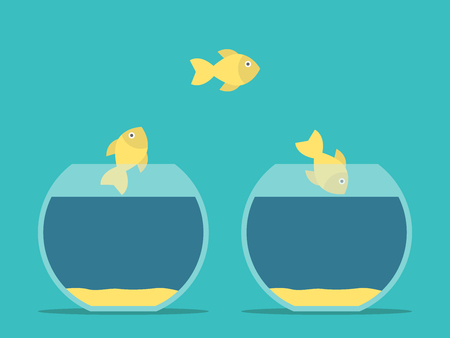 goldfish jump: Fishes moving from one aquarium to another. Round fishbowls. Flat style. Challenge, courage, solution and creativity concept. Illustration