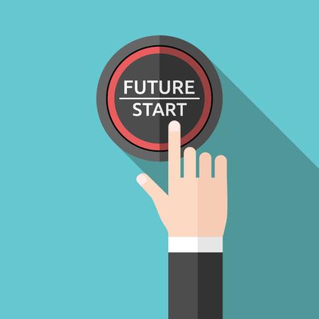 손을 앞으로 밀고 버튼을 시작합니다. 플랫 스타일. 내일, 새로운 삶, 기술, 비즈니스, 시작과 개념을 시작합니다.