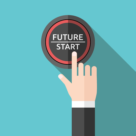start button: Hand pushing future and start button. Flat style. Tomorrow, new life, technology, business, beginning and start concept.