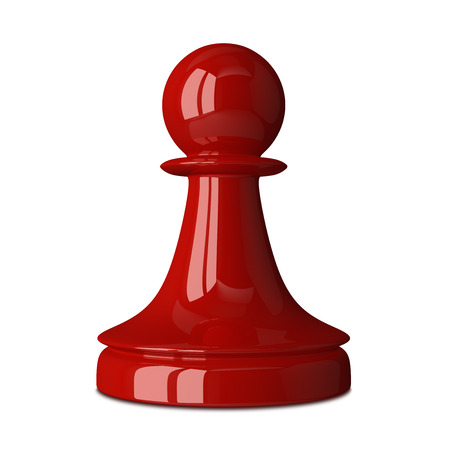 isolated on red: Red glossy shiny chess pawn isolated on white background with small soft shadow. 3D illustration Stock Photo