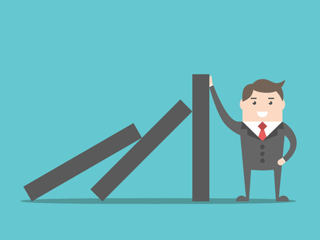 stopping: Successful strong confident businessman stopping domino effect. Business, problem, solution, crisis and risk concept. EPS 8 vector illustration, no transparency