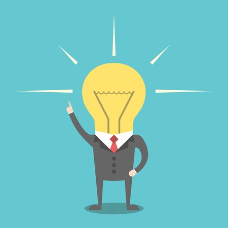 Inspired businessman with glowing light bulb head. Creativity, innovation, business success and imagination concept. EPS 8 vector illustration, no transparency