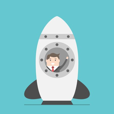 starting a business: Businessman waving hand in space rocket on ground before starting up. Business, beginning, launching, technology and development concept. EPS 8 vector illustration, no transparency
