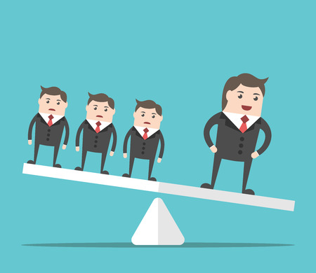 uniqueness: Happy successful businessman outweighing group of people on scales. Business, success, uniqueness, competition and performance concept. EPS 8 vector illustration, no transparency