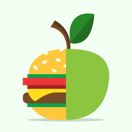 grease: Half hamburger combined with apple. Food, healthy eating, lifestyle, fitness, health, fruit and diet concept. EPS 8 vector illustration, no transparency Illustration